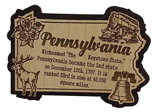 USA-Pennsylvania-Staats-Karten-hölzerner Magnet-Andenken-Kühlraum-Magnet-Geschenk