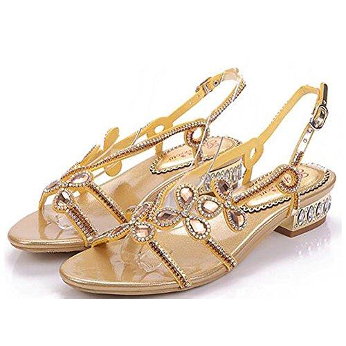 SYYAN Damen Leder Farbdiamant Offener Zeh Pure Handmade Low-heeled Kleid Sandalen 1
