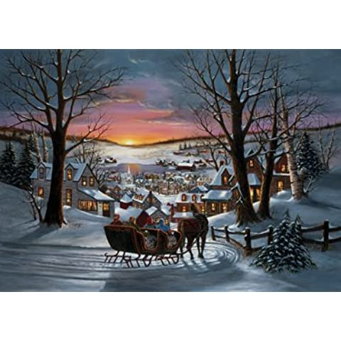 Sleigh Ride Christmas Cards-Confezione da 15 carte Foil & 16 buste con rivestimento interno - Orgoglio Holiday Card