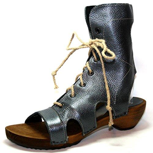 Sanita Helena Wooden Sandal 456013, Sandali donna legno, estate scarpe Argento (argento)