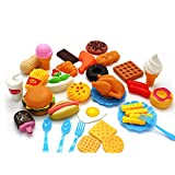 #8: Plastic Fast Food Playset Mini Hamburg French Fries Hot Dog Ice Cream Cola Food Toy for Children Pretend Play Gift for Kids