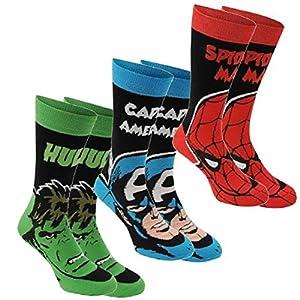 Marvel Herren Crew Socken, elastisch, Baumwolle, hochwertige Markensocken, 3er-Pack