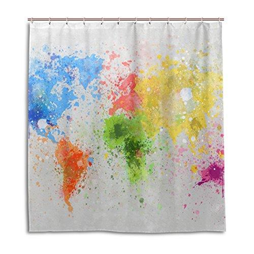jstel Decor Duschvorhang Weltkarte Gemälde Muster Print 100% Polyester Stoff 167,6x 182,9cm für Home Badezimmer Deko Dusche Bad Vorhänge mit Kunststoff Haken -