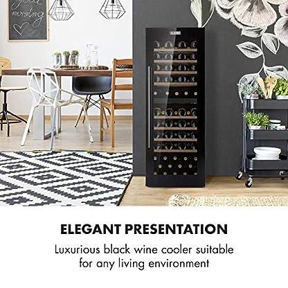 Klarstein-Barossa-77-Duo-Weinglas-Regal-Set-Black-Edition-Weinkhlschrank-mit-191-Liter-fr-bis-zu-77-Flaschen-5-20-C-2-Khlzonen-3-lagiges-Sicherheitsglas-LCD-Anzeige-Touch-Steuerung-schwarz