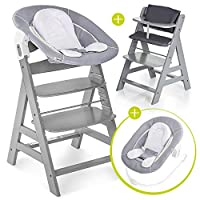 Hauck Alpha Newborn Set - Wooden High Chair for Babies - Hauck High Chair from Infant to Toddler with Baby Bouncer Insert Cushion and 5-Point Harness - High Chair Baby - Grey