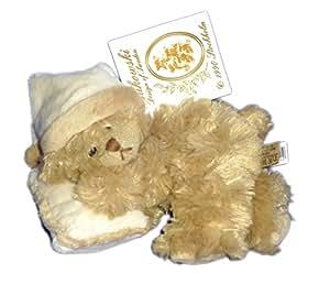Doudou peluche OURS beige Oreillé Coussin Bonnet Couché Allongé BUKOWSKI DESIGN L 20 cm