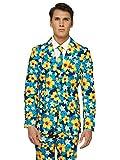 OFFSTREAM Faschingskostüme für Herren - Mit Jackett, Hose und Krawatte mit Festlichen Print, L, Tropical Flower Blue
