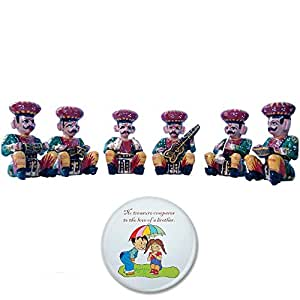 Little India Rajasthani Musician Bawla (Brown, Set of 6, HCF206)