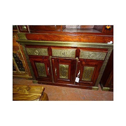 int. d'ailleurs - Großes indisches Buffet 3 Türen 3 Schubladen aus massivem Palisander und mit Messing verziert - PAL329 -