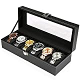 Best AXIS Jewelry Boxes - BALALALA-Glass Lid 6 Watch Jewellery Display Storage Box Review
