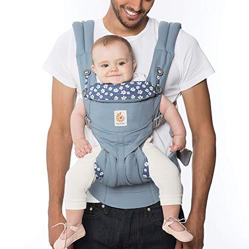 Ergobaby Babytrage für Neugeborene ab Geburt bis 20kg, 4-Positionen Omni 360 Blue Daisy, Ergonomische Baby-Tragetasche für Bauch Rücken