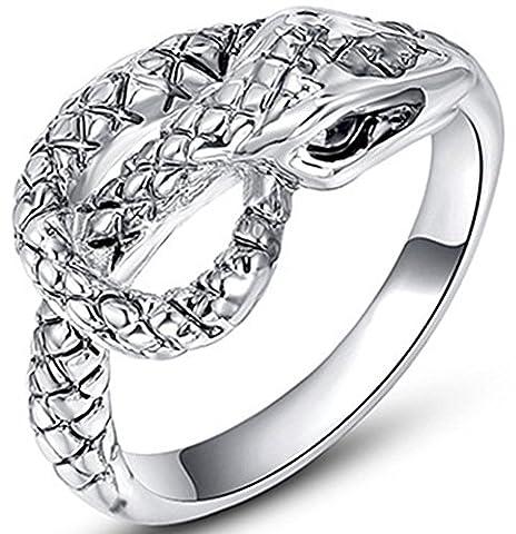 SaySure Platinum Plated Birthday Gift Anniversary Snake Ring for Men or Women