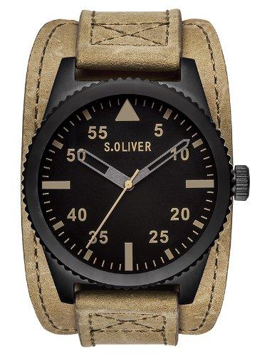 s.Oliver - SO-2879-LQ - Montre Homme - Quartz Analogique - Bracelet Cuir Beige