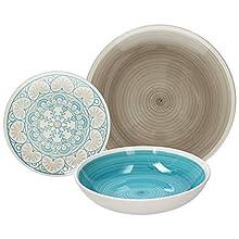 Tognana LS170185608 Servizio tavola 18 Pezzi Mosaico Blu, Stoneware