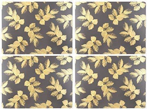 Set de 4 Déchu Feuilles Feuille Gris Foncé Doré Liège Soutenu Set de Table 30.5 X 23 X 0.6cm