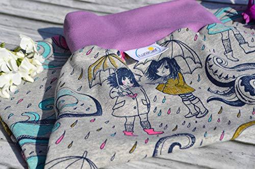 Strampelsack aus Bio-Baumwolle, 44 48, Frühchen, Schlafsack zum Pucken, Pucksack, Babys, Kinder, für Bett Kinderwagen, grau lila pink türkis gelb blau, Regen, Schirm, Mädchen