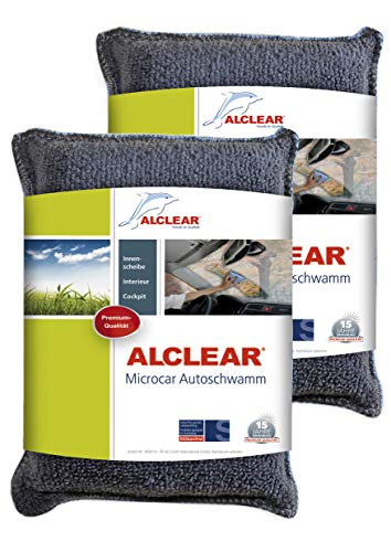 ALCLEAR 950014 Ultra-Microfaser Autoschwamm, Gegen Beschlagene Scheiben, Anthrazit/Blau, Anzahl 2