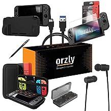 ORZLY® Pack Esencial de Accesorios para Nintendo Switch [Incluye: Protectores de Pantalla, Cable USB, Funda para Consola, Estuche Tarjetas de Juego, Funda Comfort Grip, Auriculares] – Negro