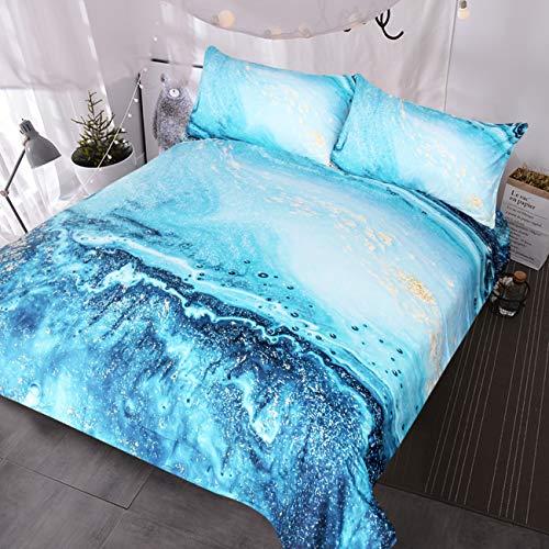 BlessLiving Ocean Blau Grün Marmor Betten Faux Gold Glitter Bettbezug Treibsand Fluid Gemälde Art Chic 3-Teiliges Bettwäsche-Set King Blau