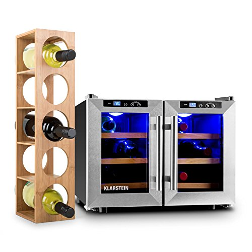 Klarstein Reserva Saloon Weinset 2-teilig mit Weinkühlschrank und Weinregal (40 Liter Volumen, doppelt isolierte Edelstahl-Glastür, Weinregal aus Bambus) silber