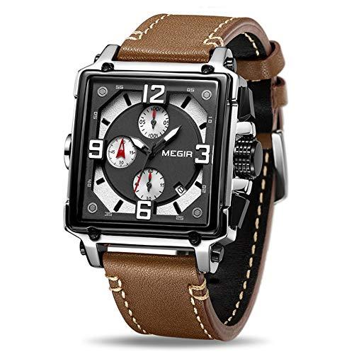 HCWH Watch Montres pour Hommes créatifs Montre à Quartz chronographe Horloge Hommes PU Sport Armée Armée Montres Militaires, Rose Noir