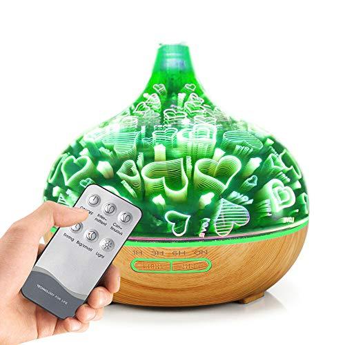 Aroma Diffuser, Holeider Luftbefeuchter Ultraschall LED Aromatherapie Ätherisches Oil Diffusor Duftzerstäuber 3D Nachtlicht 400ml USB Humidifier für Babies Yoga Kinderzimmer Schlafzimmer Büro,