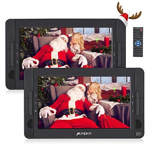 Pumpkin Lettore dvd portatile poggiatesta per auto con doppio schermo da 10.1 pollici, con supporto, lungo tempo di riproduzione da 5 ore, supporto regione free/USB/SD/MMC, 18 mesi di garanz