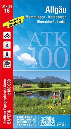 ATK100-16 Allgäu (Amtliche Topographische Karte 1:100000): Memmingen, Kaufbeuren, Oberstdorf, Lindau, Bad Waldsee, Leutkirch, Bad Wörishofen, Kempten, ... Topographische Karte 1:100000 Bayern)