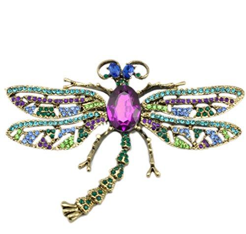 richbest Spilla per ragazza vintage sciarpa a forma di libellula spilla per le donne, placcato argento, colore: viola, cod. XZ76