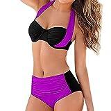 OverDose Soldes Maillots de Bain 2 PièceS Femme Push Up, Maillots de Bain Brésilien Push-Up Grande Taille Sport Bikini 2 Pièces Maillot Ensemble Bandeau Noir