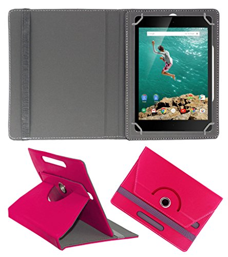 Acm Rotating 360° Leather Flip Case For Htc Google Nexus 9 Tablet Cover Stand Dark Pink  available at amazon for Rs.179