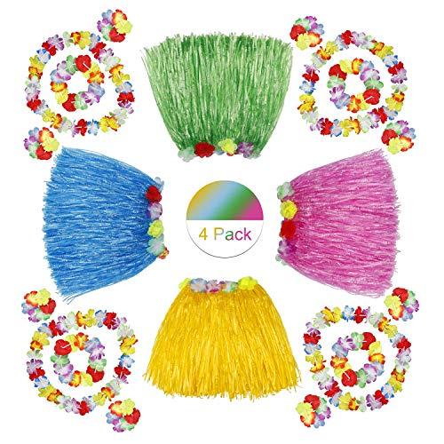 �cke Hawaiian Hula Tropical Dance Rock mit Blume Armbänder Stirnband Halskette für Kinder Mädchen Frauen Party FeierKostüm 4 Set ()