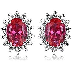 JewelryPalace Pendientes Princesa Diana William Kate Middleton Vintage Halo Oval 1.5ct Rubí Rojo Creado Piedra Preciosa Aretes Plata de ley 925