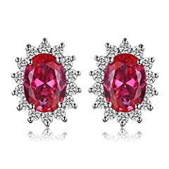 Idea Regalo - JewelryPalace Principessa Diana William Kate Middleton's 1.5ct Sintetico Rosso Rubino Stud Orecchini 925 Sterling Argento