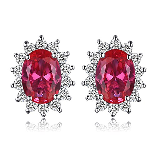 JewelryPalace Principessa Diana William Kate Middleton's 1.5ct Sintetico Rosso Rubino Stud Orecchini 925 Sterling Argento