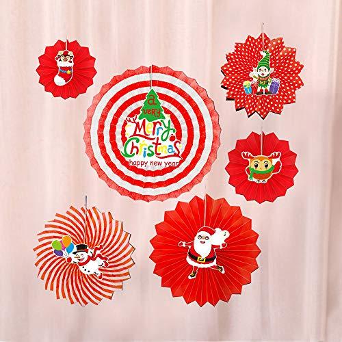 Junjie 6 Stück DIY Weihnachtsfeier Hängende Papier Fans Dekorationen Xmas Santa Party Hanging Papierfächer Blume Bastelpapier