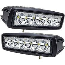 Tanli 2 X 18 W Led Foco Lampara de coche Faros de trabajo led Luces diurna Luz de la luz de los faros de campo a traves de SUV UTV ATV faros