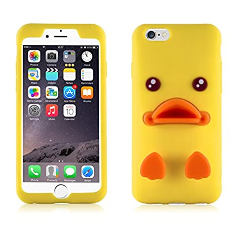 Coque iPhone 6 6s Coque silicone 3D | JammyLizard | Coque 3D back cover silicone originale mignon porte écouteurs Emoji de Line Sally le poussin Jaune pour iPhone 6 6s