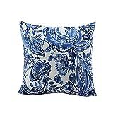 PRÕKTH Kissenbezug aus Baumwolle, Retro-Muster, Bedruckt, quadratisch, für Sofa, Auto, Dekoration (ohne Kissen) blau