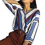 UFACE Damen Mode-Frauen-beiläufige Streifen-Knopf-Oberseiten T-Shirt Oberseiten-Hülsen-Bluse Frauen-beiläufige Gestreifte Lange Hülsen-Oberseite(Blau,EU/42CN/S)