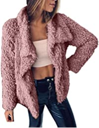 Yvelands Moda para Mujer Invierno Cálido Faux Fur Manga Larga Chaqueta sólida Tops Abrigos Chaquetas Blusa Superior