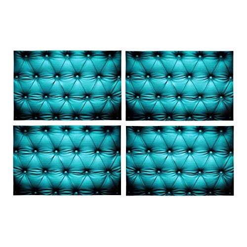 Soefipok Lustige blau türkis geknöpft Couch Schlafsofa Kopfteil Leder Stoff Tischsets Fleck beständig Tischset für Esstisch langlebig waschbar Küche Tischsets , 4er-Set