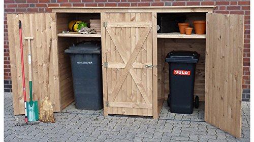 PROMADINO Mülltonnenbox, für 3x240 l aus Holz, B/T/H: 250/101/161 cm Natur