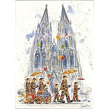 Typisch Kölsch, Bild vom Kölner Dom, Karneval und Clowns, Kunstdruck, gerahmt in Aluminiumleiste, Jan Künster, 40 x 50 cm
