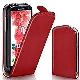 moex Samsung Galaxy S3 | Hülle Rot 360° Klapp-Hülle Etui thin Handytasche Dünn Handyhülle für Samsung Galaxy S3 / S III Neo Case Flip Cover Schutzhülle Kunst-Leder Tasche