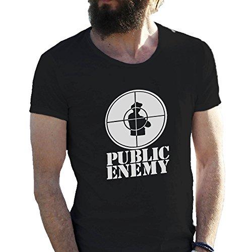 Friendly Bees Public Enemy Retro Vintage Schwarz T-Shirts für Herren in Großen Größen 3X Large (3x Großes T-shirt)