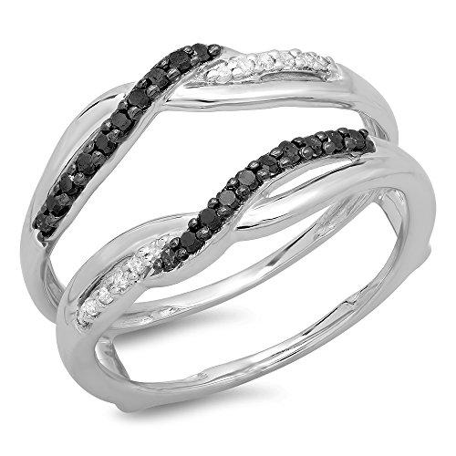 DazzlingRock Collection  -  10 K  Weißgold Rundschliff   Leicht Getöntes Weiß/Crystal (J) schwarz Schwarzer Diamant  (10k Weißes Gold Schwarzer Diamant Ring)