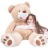 IKASA 100cm Orso Teddy Gigante con Grandi Orme Morbido Felpato Giocattolo Ripieno Animali Chiaro Marrone