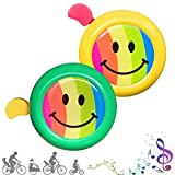 CUKCIC Kinder Fahrradklingel Regenbogen-Lächeln Fahrradhupe für Kinder Mädchen Jungen Laut Crisp Klar Sound Bike Horn 2-TLG