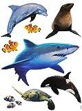 8 TLG. Set _ Wandtattoo / Sticker -  Hai Fische / Delfin / Schildkröte  - Wandsticker + Fenstersticker - Aufkleber für Kinderzimmer - Unterwasser Fisch - Ki..